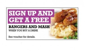 Free Sausage Mash Meal 300x181 Free Sausage & Mash Meal