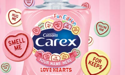 Free Personalised Bottles of Carex Love Hearts Hand Wash
