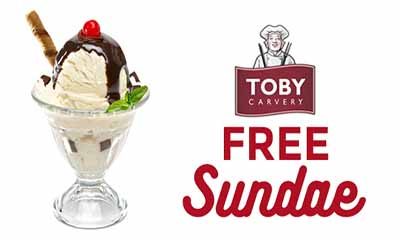 Free Sundae and 33% Off Food from Toby Carvery