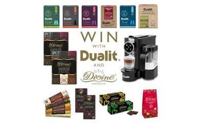 Win a Dualit Coffee Machine, Capsules & Chocolate Hamper