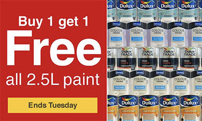 Buy 1 Get 1 Free on all 2.5L Paint at Wickes