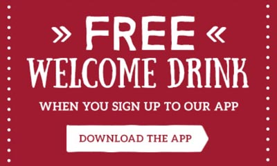 Free Welcome Drink form Toby Carvery