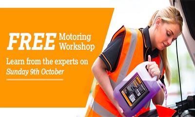 Free Halfords Screen Wash & Workshop