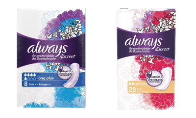 Free Samples of Always Pads and Liners