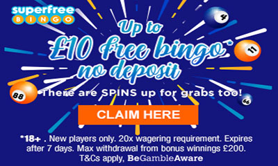 Grab up to £10 Free Bingo*, No Deposit!